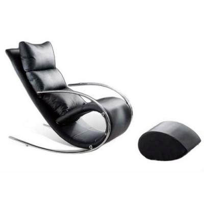 Кресло-качалка c пуфом МАГНУС S001 MK-5503-BL